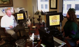 Kimberly Hanlon and Scott Plum recording The Small Business Buzz Podcast